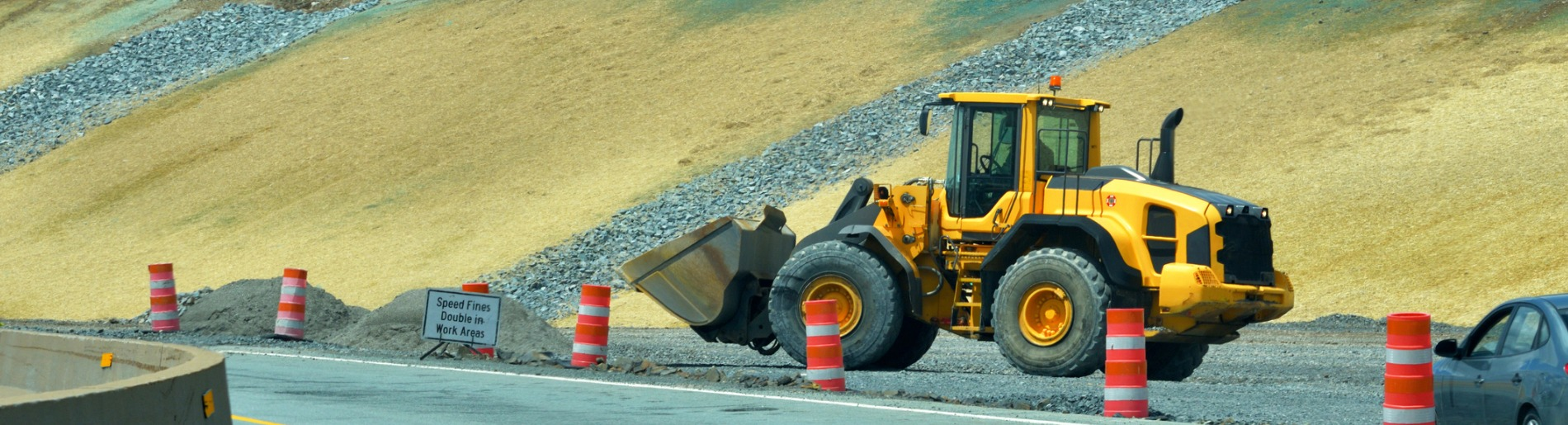 Road under construction with pay loader